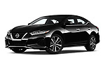 Stock pictures of low aggressive front three quarter view of 2020 Nissan Maxima SV 4 Door Sedan Low Aggressive