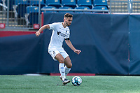 FOXBOROUGH, MA - JULY 25: USL League One (United Soccer League) match. Damia Viader #3 of Union Omaha passes the ball during a game between Union Omaha and New England Revolution II at Gillette Stadium on July 25, 2020 in Foxborough, Massachusetts.