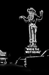 Where the West Begins. Wendover Will neon sign in its original location. The giant cowboy sign was created for the Stateline Casino in West Wendover, Nevada, USA in 1952. The 63-foot-tall (19m) neon sign was located in the parking lot on Highways 40 and 50 (later Interstate 80). At the base it says: Where the West begins. When the casino changed ownership, the sign was donated to West Wendover. The town restored the sign and Wendover Will was moved to Wendover Boulevard in the town centre.