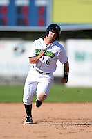 Jamestown Jammers second baseman Erik Lunde (6) runs the bases during a game against the Mahoning Valley Scrappers on June 15, 2014 at Russell Diethrick Park in Jamestown, New York.  Jamestown defeated Mahoning Valley 9-4.  (Mike Janes/Four Seam Images)