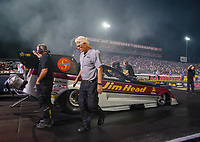 Aug 31, 2018; Clermont, IN, USA; Team owner Jim Head with NHRA funny car driver Jonnie Lindberg during qualifying for the US Nationals at Lucas Oil Raceway. Mandatory Credit: Mark J. Rebilas-USA TODAY Sports