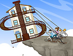 People trying to save home at the edge of a cliff with dollar sign