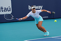 3rd April 2021; Miami Gardens, Miami, Florida, USA;   Bianca Andreescu (CAN) hits a forehand during the women's finals of the Miami Open on April 3, 2021, at Hard Rock Stadium in Miami Gardens, Florida.