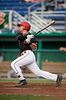 Batavia Muckdogs third baseman Bubba Hollins (24) at bat during a game against the Lowell Spinners on July 16, 2018 at Dwyer Stadium in Batavia, New York.  Lowell defeated Batavia 4-3.  (Mike Janes/Four Seam Images)