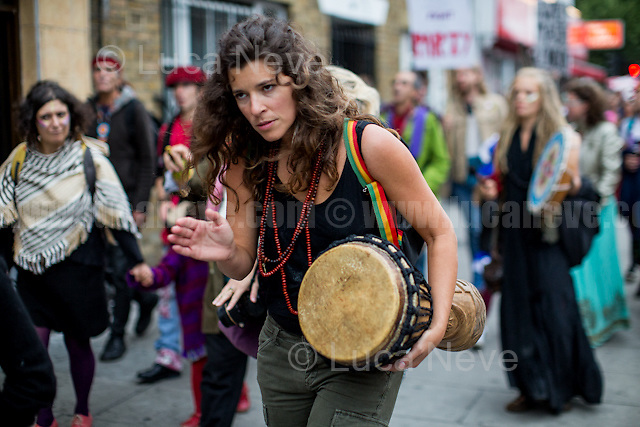 London, 17/09/2016. Today, hundreds of people gathered in Hoxton Square to march peacefully through East London to protest against the closure of the iconic Dalston music venue, Passing Clouds. From the organiser press release: <<[…] After Passing Clouds was sold in November 2015 in a secret deal to property developers Landhold Developments, the Passing Clouds community have been fighting to protect our iconic ten-year old music venue from unnecessary development. Two weeks ago Landhold Developments sent private a security firm to break into and evict Passing Clouds without warning or lawful court papers despite being in negotiations over a 15 year lease. Although Landhold Developments are seeking to develop the property, in fact, the property has a community use planning classification and an application to put the building on the Community Asset Register has been submitted and is supported by Hackney Council dignitaries. Therefore it is likely to sit empty, resulting in thousands of pounds in security costs a day for Landhold Developments, unless they come to a sensible arrangement with Passing Clouds. We are now putting together a viable proposal to Landhold Developments to grant us a new lease or sell us the freehold of the property […]>>. The demonstration ended in Gillett Square with music, poetry and speeches by prominent figures from the UK Music Industry.<br /> <br /> For more information please click here: http://www.passingclouds.org/ & https://www.facebook.com/events/613667615460181/ <br /> <br /> For more information about Passing Clouds Music Venue please click here: https://en.wikipedia.org/wiki/Passing_Clouds