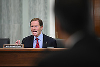 United States Senator Richard Blumenthal (Democrat of Connecticut) asks a question during a United States Senate Committee on Commerce, Science, and Transportation oversight hearing to examine the Federal Communications Commission in Washington, DC on June 24, 2020. <br /> Credit: Jonathan Newton / Pool via CNP/AdMedia