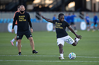 SAN JOSE, CA - SEPTEMBER 16: Yammi Chara #23 of the Portland Timbers warms up during a game between Portland Timbers and San Jose Earthquakes at Earthquakes Stadium on September 16, 2020 in San Jose, California.