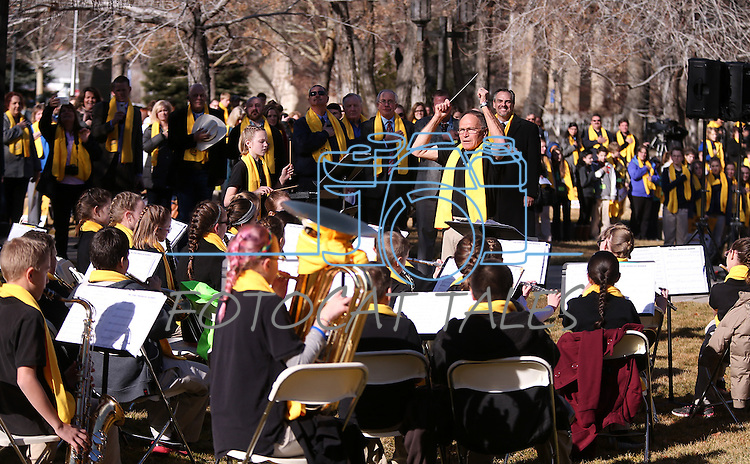 """Director Warren Krch and the Learning Bridge Charter School band, of Ely, performs for several hundred people at the """"Nevada Supports School Choice"""" rally to raise awareness of educational choices on the Capitol grounds in Carson City, Nev., on Wednesday, Jan. 28, 2015. <br /> Photo by Cathleen Allison"""