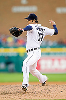 Detroit Tigers starting pitcher Anibal Sanchez (19) delivers a pitch to the plate against the Tampa Bay Rays at Comerica Park on June 4, 2013 in Detroit, Michigan.  The Tigers defeated the Rays 10-1.  Brian Westerholt/Four Seam Images