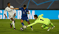 April 27th 2021; Alfredo Di Stefano Stadium, Madrid, Spain; UEFA Champions League. Chelsea's Christian Pulisic beats Thibaut Courtois to the ball to score for 0-1 during the Champions League match, semifinals between Real Madrid and Chelsea FC played at Alfredo Di Stefano Stadium