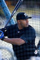 Vernon Wells of the Toronto Blue Jays during batting practice before a game from the 2007 season at Dodger Stadium in Los Angeles, California. (Larry Goren/Four Seam Images)