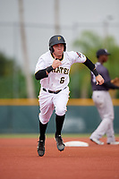 GCL Pirates left fielder Steven Kraft (6) runs the bases during the second game of a doubleheader against the GCL Yankees East on July 31, 2018 at Pirate City Complex in Bradenton, Florida.  GCL Pirates defeated GCL Yankees East 12-4.  (Mike Janes/Four Seam Images)