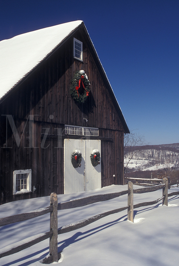 barn, Vermont, VT, Brown barn with white doors decorated with wreaths in the snow in winter in Pomfret.