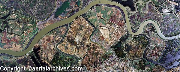 aerial photo map of wetlands Sacramento river delta, Solano County, California