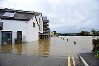 Pictured: Flooding caused by Storm Callum, in Carmathen, Wales, UK. Sunday 14 October 2018<br /> Re: The aftermath of the flood caused by the unusually high tide of rover Towy and storm Callum in Carmarthen west Wales, UK.