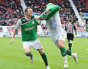 HIBERNIAN'S GARRY O'CONNOR STARTS HIS CELEBRATION WITH MARTIN SCOTT AFTER HE SCORES HIBS SECOND