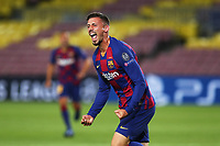 Clement Lenglet of Barcelona celebrates after scoring the goal of 1-0 during the Champions League round of 16 second leg football match between Barcelona and SSC Napoli at Camp Nou in Barcelona (Spain), August 8th, 2020. <br /> Photo UEFA / Press Office / Insidefoto