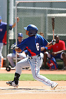 Rougie Odor #6 of the Texas Rangers plays in an extended spring training game against the San Diego Padres at the Rangers minor league complex on April 16, 2011  in Surprise, Arizona. .Photo by:  Bill Mitchell/Four Seam Images.