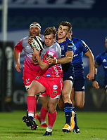 2nd October 2020; RDS Arena, Dublin, Leinster, Ireland; Guinness Pro 14 Rugby, Leinster versus Dragons; Nick Tompkins (Dragons) attempts to get away from a tackle from Garry Ringrose (Leinster)