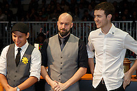 MELBOURNE, 26 MAY - The top 3 finalists William Hernandez,  Pete Licata and Matthew Perger wait for the announcement of the winner of the 2013 World Barista Championship held at the Melbourne Show Grounds in Melbourne, Australia. Photo Sydney Low / syd-low.com
