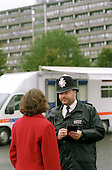 Mobile police station opposite the Aylesbury Estate, Southwark, South London.