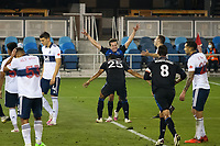 SAN JOSE, CA - OCTOBER 07: Andres Rios #25 of San Jose Earthquakes celebrates scoring a goal with teammate Carlos Fierro #21 during a game between Vancouver Whitecaps and San Jose Earthquakes at Earthquakes Stadium on October 07, 2020 in San Jose, California.
