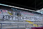 Fussball - 3.Bundesliga - Saison 2020/21<br /> Kaiserslautern -  Fritz-Walter-Stadion 03.04.2021<br /> 1. FC Kaiserslautern (fck)  - FC Halle (hal<br /> Fantransparente in der Westkurve<br /> <br /> Foto © PIX-Sportfotos *** Foto ist honorarpflichtig! *** Auf Anfrage in hoeherer Qualitaet/Aufloesung. Belegexemplar erbeten. Veroeffentlichung ausschliesslich fuer journalistisch-publizistische Zwecke. For editorial use only. DFL regulations prohibit any use of photographs as image sequences and/or quasi-video.