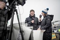 former CX champion Helen Wyman (GBR) comentating the race<br /> <br /> U23 Men's Race<br /> UCI cyclocross WorldCup - Koksijde (Belgium)<br /> <br /> ©kramon