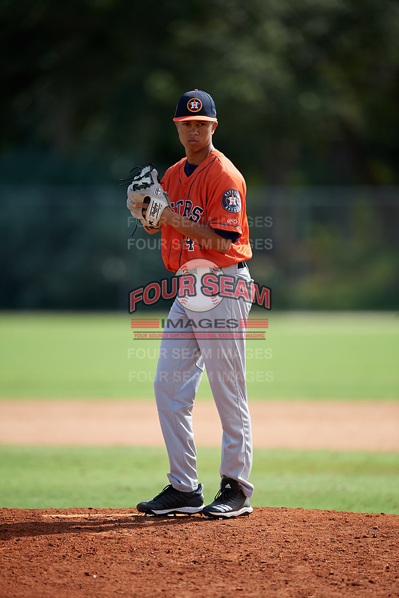 Jordan Carrion during the WWBA World Championship at the Roger Dean Complex on October 19, 2018 in Jupiter, Florida.  Jordan Carrion is a shortstop from Miami, Florida who attends American Heritage High School and is committed to Florida.  (Mike Janes/Four Seam Images)