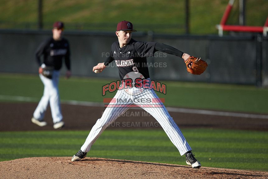 Bellarmine Knights relief pitcher Matt Craven (9) in action against the North Greenville Crusaders at Ashmore Park on February 7, 2020 in Tigerville, South Carolina. The Crusaders defeated the Knights 10-2. (Brian Westerholt/Four Seam Images)