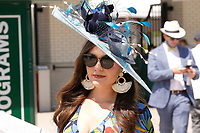 1st May 2021; Kentucky, USA;  A fan displays her fancy hat while attending the 147th running of the Kentucky Derby on May 01, 2021, at Churchill Downs in Louisville