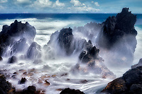 Storm waves at Laupahoehoe Beach Park. Hawaii The Big Island.