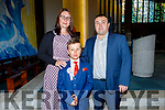 Matusz Gorz from Holy Family NS at his Communion at St Brendans Church on Saturday with his parents Stefan and Dorota Gorz