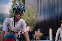Nikolai Cherkasov (RUS)<br /> <br /> MEN UNDER 23 INDIVIDUAL TIME TRIAL<br /> Hall-Wattens to Innsbruck: 27.8 km<br /> <br /> UCI 2018 Road World Championships<br /> Innsbruck - Tirol / Austria