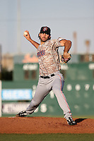 Justin Anderson (27) of the Inland Empire 66ers pitches against the Lancaster JetHawks at The Hanger on September 3, 2016 in Lancaster, California. Lancaster defeated Inland Empire, 7-6. (Larry Goren/Four Seam Images)