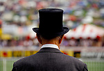 Derby Day Epsom Downs. Black silk top hat and grey morning suit. 1980s.