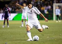 Newly acquired LA Galaxy forward Alecko Eskandarian sends a cross ball. The LA Galaxy defeated New England Revolution 1-0 at Home Depot Center stadium in Carson, California Saturday evening July 4, 2009. .
