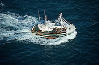 Europe/France/Aquitaine/33/Gironde/Bassin d'Arcachon: Bateau de pêche en mer - Vue aérienne