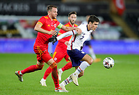 SWANSEA, WALES - NOVEMBER 12: Giovanni Reyna #7 of the United States moves with the ball during a game between Wales and USMNT at Liberty Stadium on November 12, 2020 in Swansea, Wales.