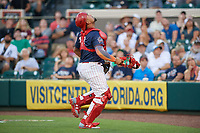 Clearwater Threshers catcher Deivy Grullon (10) tracks a foul ball during the Florida State League All-Star Game on June 17, 2017 at Joker Marchant Stadium in Lakeland, Florida.  FSL North All-Stars defeated the FSL South All-Stars  5-2.  (Mike Janes/Four Seam Images)