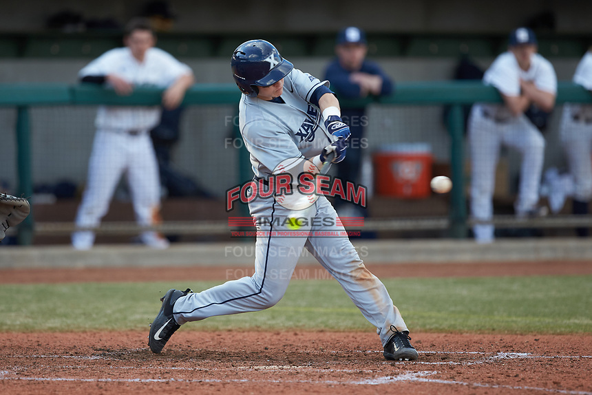 Nate Soria (5) of the Xavier Musketeers at bat against the Penn State Nittany Lions at Coleman Field at the USA Baseball National Training Center on February 25, 2017 in Cary, North Carolina. The Musketeers defeated the Nittany Lions 7-5 in game two of a double header. (Brian Westerholt/Four Seam Images)