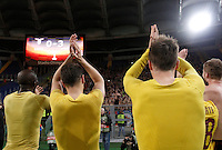 Calcio, Europa League: Lazio vs Sparta Praga. Roma, stadio Olimpico, 17 marzo 2016.<br /> Sparta Praha's players greet fans at the end of the round of 16 second leg soccer match between Lazio and Sparta Praha, at Rome's Olympic Stadium, 17 March 2016. Sparta Praha won 3-0 to join the quarter finals.<br /> UPDATE IMAGES PRESS/Isabella Bonotto