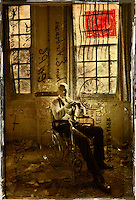 Mark at West Park abandoned asylum Textured photograph using vintage postcard