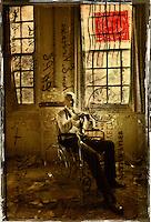 Mark at West Park abandoned asylum Textured photograph using vintage postcard