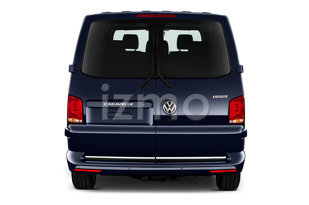 Straight rear view of 2020 Volkswagen Caravelle Highline 5 Door Passenger Van Rear View  stock images