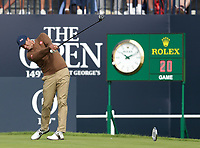 16th July 2021; Royal St Georges Golf Club, Sandwich, Kent, England; The Open Championship Tour Golf, Day Two; Adam Scott (AUS) hits his tee shot on the 1st hole