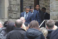 Pictured: Swansea City's Wayne Routledge, Pablo Hernandez and Jonathan de Guzman, arriving at Morriston Crematorium.<br />