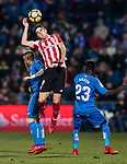 Sabin Merino Zuloaga of Athletic Club de Bilbao (C) fights for the ball with Vitorino Gabriel Pacheco Antunes (L) and Amath Ndiaye Diedhiou of Getafe CF (R) during the La Liga 2017-18 match between Getafe CF and Athletic Club at Coliseum Alfonso Perez on 19 January 2018 in Madrid, Spain. Photo by Diego Gonzalez / Power Sport Images