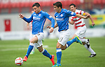 Hamilton Accies v St Johnstone...16.08.14  SPFL<br /> Michael O'Halloran takes the ball off Adam Morgan<br /> Picture by Graeme Hart.<br /> Copyright Perthshire Picture Agency<br /> Tel: 01738 623350  Mobile: 07990 594431