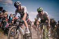 Chris Froome (GBR/SKY) & Edvald Boasson Hagen (NOR/Dimension Data) on pavé sector #2<br /> <br /> Stage 9: Arras Citadelle > Roubaix (154km)<br /> <br /> 105th Tour de France 2018<br /> ©kramon